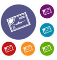 stamp with plane and text miami inside icons set vector image vector image