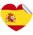 sticker design for spain in heart shape vector image vector image