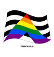 straight ally flag waving designed with correct