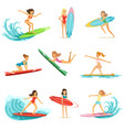 surfer girls riding on waves set surfboarders in vector image vector image