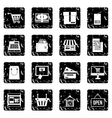 Surfing set icons grunge style