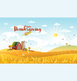 thanksgiving autmn landscape with farm vector image vector image