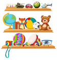 toys and instruments on wooden shelves vector image vector image