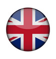 united kingdom flag in glossy round button of vector image