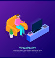 virtual reality isometric background vector image vector image