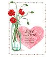 Wedding invitation with mason jar and poppy vector image vector image