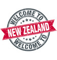 welcome to new zealand red round vintage stamp vector image vector image