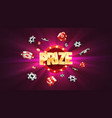 win prize in gambling game purple background vector image vector image