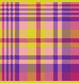 yellow pink check madras seamless fabric texture vector image vector image