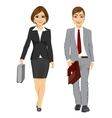 young business man and woman walking forward vector image vector image