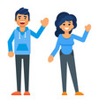 happy characters man and woman vector image