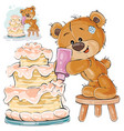 a brown teddy bear makes a vector image vector image