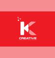 alphabet letter k red technology white logo vector image vector image