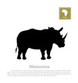 black silhouette of a rhino on a white background vector image vector image
