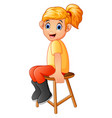 cartoon girl sit on the wood chair vector image vector image