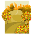 cartoon round the land with houses in the autumn vector image vector image