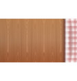 checkered tablecloth on a wood background vector image vector image