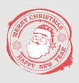 christmas red stamp with cute santa claus face vector image vector image