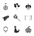 Circus set icons in black style Big collection of vector image vector image