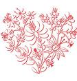 Color folk floral pattern in heart shape 3d vector image vector image