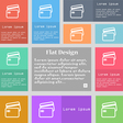 Credit card icon sign Set of multicolored buttons vector image