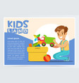 cute boy putting his toys in special box teenager vector image vector image