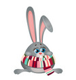 cute frozen cartoon poor thing bunny in striped vector image vector image