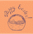 easter card with wicker basket vector image