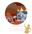Fire in the house banner vector image vector image