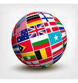 Flags of the world in globe vector image vector image