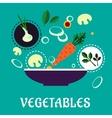 Flat vegetarian salad with fresh vegetables vector image vector image