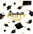 graduate caps and confetti on a white background vector image vector image