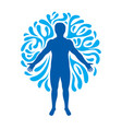 graphic of strong male body silhouette surrounded vector image vector image