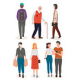 guy with backpack old man with walking stick vector image