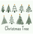 hand drawn christmas tree symbols set vector image