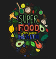 hand drawn superfoods poster vector image vector image