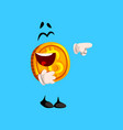 happy laughing bitcoin character pointing at vector image vector image