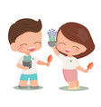 happy young couple plant a tree for mother earth vector image