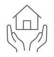 home insurance thin line icon estate and property vector image vector image