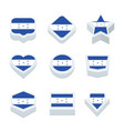 honduras flags icons and button set nine styles vector image