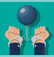 human hands in handcuffs and weight ball vector image