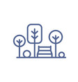icon park with trees and bench in line art vector image