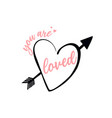 love lettering isolated on white heart vector image