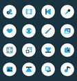 media colorful icons set collection of eject vector image