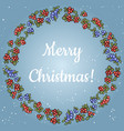 merry christmas lettering in a wreath of red and vector image vector image