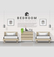 modern bedroom with twin beds background vector image