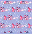 new year background with cute houses seamless vector image vector image