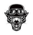 pantera head in biker helmet design element for vector image vector image
