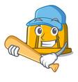 playing baseball construction helmet character vector image