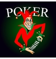 Poker emblem with joker and playing cards vector image vector image